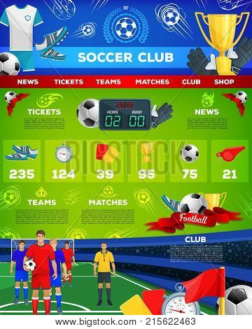 Soccer team club landing site or web page template for football sport news and game score results or match news. Vector soccer ball, championship cup award and goal tournament at arena stadium