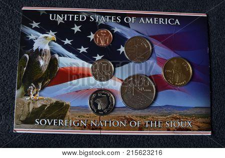 Illustrative Editorial.American Sioux coins set. Kiev,Ukraine November 25, 2017
