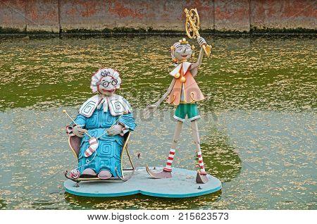 Amateur metal sculpture on a fairy tale theme