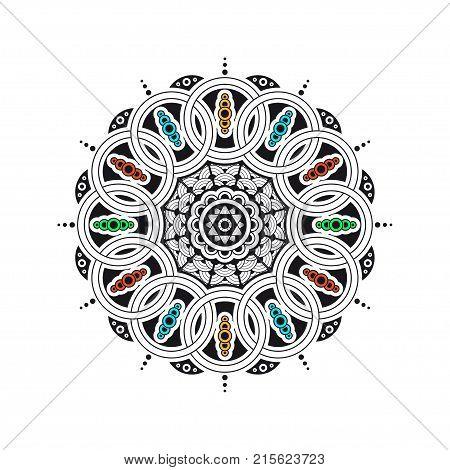 Black and white mandala with color elements. Ethnic decorative elements.