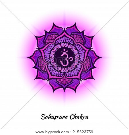 Sahasrara chakra symbol used in Hinduism, Buddhism, Ayurveda. The root chakra design for yoga studios, posters, banners, v-cads