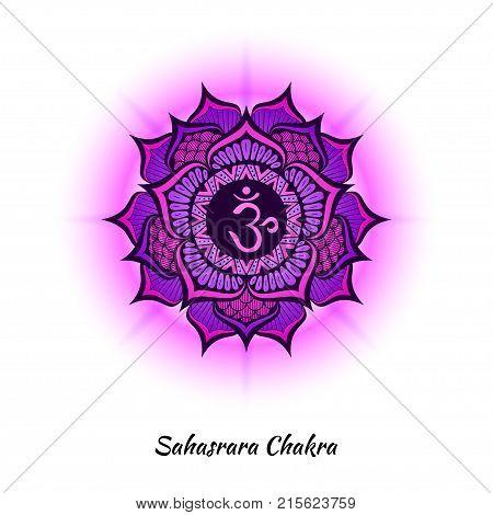 Sahasrara chakra symbol used in Hinduism, Buddhism, Ayurveda. The root chakra design for yoga studios, posters, banners, v-cads