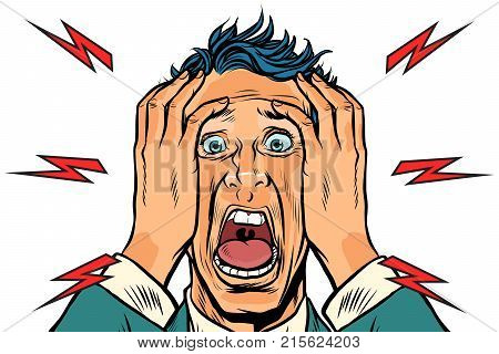 screaming man isolated on white background. Pop art retro vector illustration