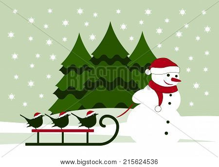 vector snowman pulling sledge with birds in snowy landscape