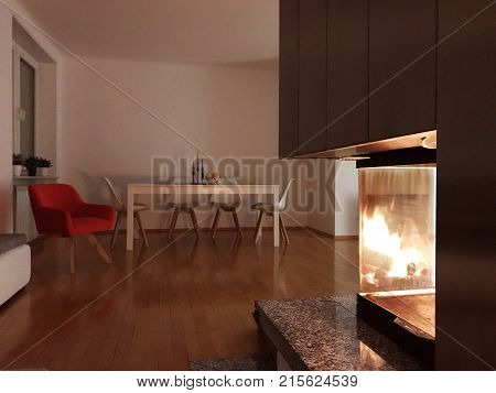 Cozy contemporary interior with a modern fireplace and red armchair