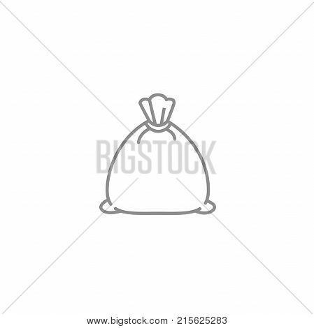 Thin wheat bag thin icon. Outline agriculture and bakery vector symbol. Stock and store reserve illustration isolated on white background.