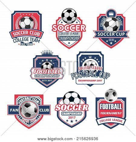 Soccer college league championship icons or football sport cup tournament badges. Vector set of soccer ball, victory cup and stars on champion laurel wreath and crown for soccer team game