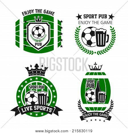 Soccer sport beer bar icons for live football championship tournament. Vector isolated set of soccer ball and victory cup on laurel wreath and stars and beer bottles of pub glass with champion crown