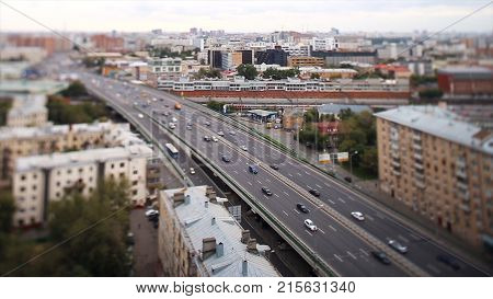 Aerial view on heavy traffic closeup , vehicles motion blur on viaduct. Day road city motion blur. Aerial view of Shanghai viaduct night, severe traffic congestion HD
