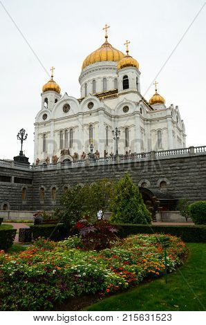 A view across the formal garden toward the Christ the Saviour Cathedral in Moscow