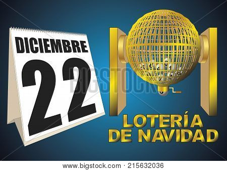 National special spanish christmas lottery. lotería de navidad diciembre. golden lottery cage with numbers. vector illustration
