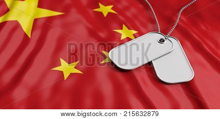 China Army Concept, Identification Tags On China Flag Background. 3D Illustration