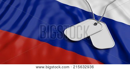 Russia Army Concept, Identification Tags On Russia Flag Background. 3D Illustration