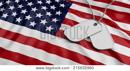 Usa Army Concept, Identification Tags On America Flag Background. 3D Illustration