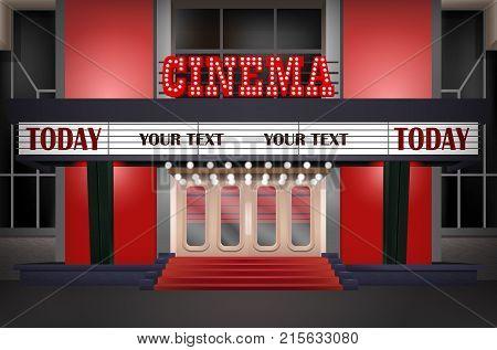 Illuminated sign in a retro-style cinema illuminated cinema marquee