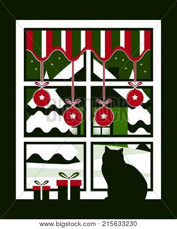 vector gifts and cat in the window and snowy landscape outside the window