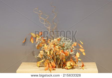 Colorful dried flowers arrangement for table