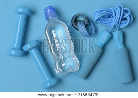 Health Regime And Fitness Symbols. Jump Rope, Water, Measure Tape