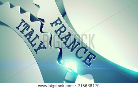 France Italy on Mechanism of Metal Gears with Glow Effect and Lens Flare - Business Concept. Message France Italy on the Metal Gears - Enterprises Concept. 3D .