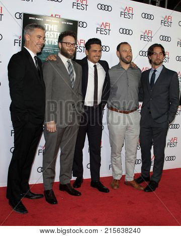 LOS ANGELES - NOV 12:  Vince Jolivette, Seth Rogen, James Franco, Evan Goldberg, James Weaver at
