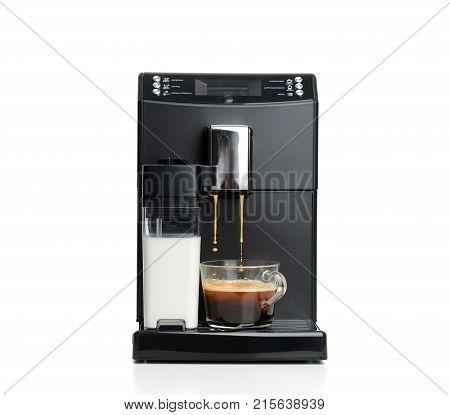 Espresso and americano coffee machine maker isolated on a white background