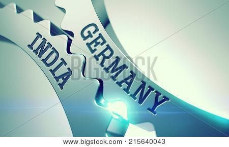 Text Germany India on Metal Gears - Business Concept. Germany India on the Metal Gears, Interaction Illustration with Glowing Light Effect. 3D Illustration .