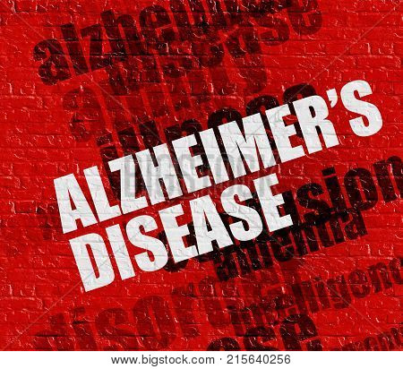 Modern medicine concept: Alzheimers Disease on the Red Wall . Red Brick Wall with Alzheimers Disease on the it .