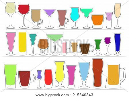 Vector set of glasses, different shapes with colored contents inside, isolated on white background. Tableware for drinks.