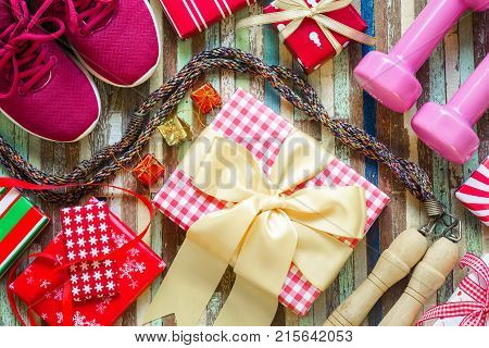 Flat Lay Of Merry Christmas And Happy New Year And Any Holidy Present Boxes For Healthy And Active L