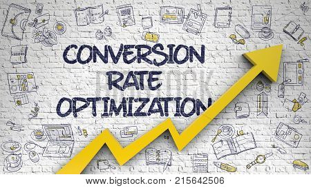 Conversion Rate Optimization - Modern Line Style Illustration with Doodle Design Elements. Conversion Rate Optimization - Business Concept with Doodle Icons Around on the Brick Wall Background. 3D.