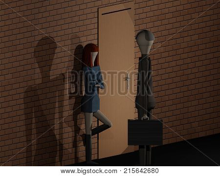 A businessman addresses a prostitute (3D rendering)