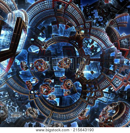 3d fractal of future city. Space ship from metal elements in cosmos. Clean energy concept. Orbital station of future civilization in galaxy . High-tech settlement on city space orbit.
