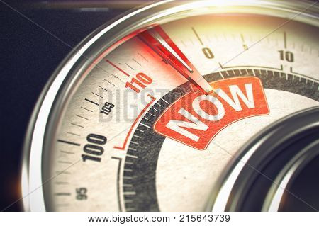 Now - Red Label on the Conceptual Compass with Needle. Business Mode Concept. Now - Conceptual Balance with Red Message on It. Horizontal image. 3D Render.