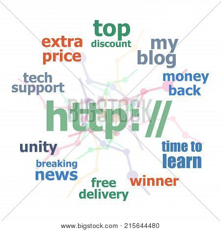 Text Http. Web Design Concept . Word Cloud Collage. Background With Lines And Circles