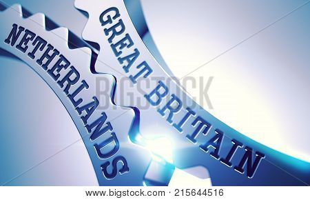 Great Britain Netherlands - Illustration with Glowing Light Effect. Great Britain Netherlands on Mechanism of Shiny Metal Gears. Interaction Concept in Technical Design. 3D .