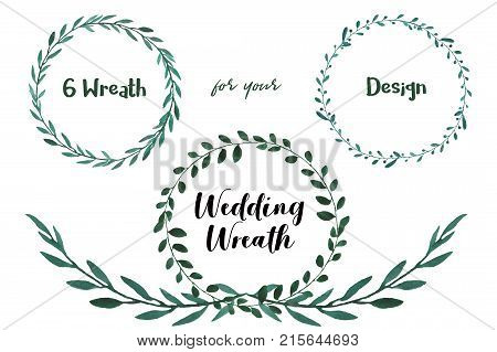 Watercolor Wedding Wreaths. Here is a 6 wedding wreaths performed by hand. Beauty wreaths for your design.