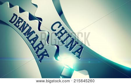 China Denmark on the Mechanism of Shiny Metal Cogwheels. Enterprises Concept in Industrial Design. China Denmark on Shiny Metal Cogwheels, Communication Illustration with Glow Effect. 3D .