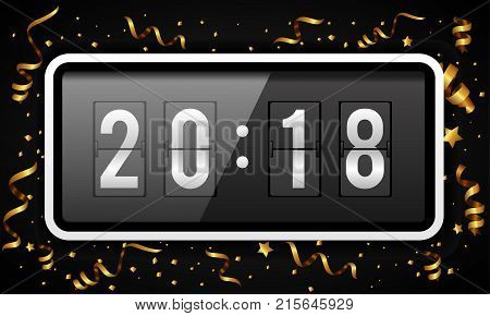 Happy New Year background vector illustration with gold confetti and ribbons. Digital countdown timer with 2018 numbers flip clock. Flip calendar changes to another new year