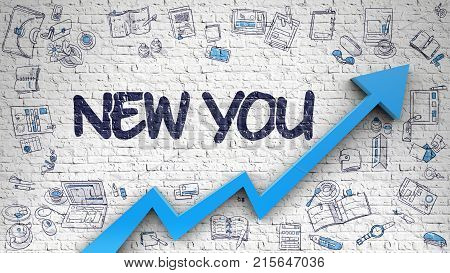 New You - Modern Style Illustration with Doodle Elements. New You - Improvement Concept with Doodle Icons Around on White Brick Wall Background. 3D.