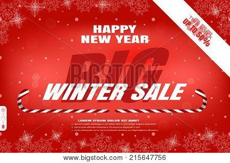 Vector wide red poster for Happy New Year Big winter sale on the background with snowflakes pattern white ribbon and striped lollipops.