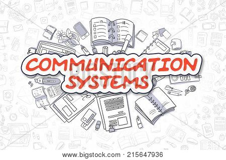 Red Word - Communication Systems. Business Concept with Doodle Icons. Communication Systems - Hand Drawn Illustration for Web Banners and Printed Materials.