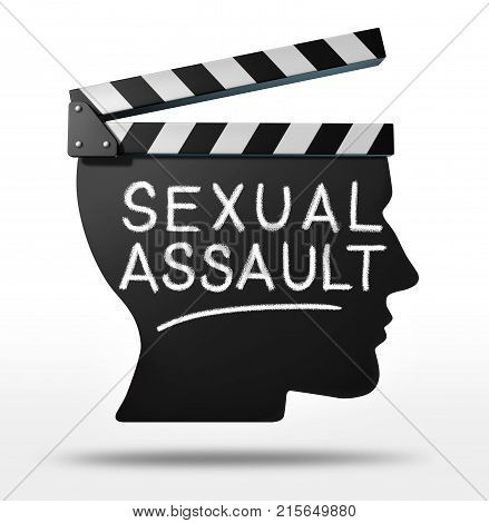 Sexual assault in entertainment and criminal physical harassment in the movie or Tv industry as a clapboard shaped as a victim or media member with text as a 3D render.