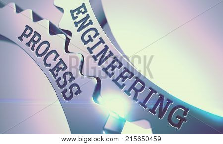 Text Engineering Process on the Shiny Metal Cog Gears - Communication Concept. Engineering Process on the Shiny Metal Cog Gears, Enterprises Illustration with Lens Effect. 3D Render .