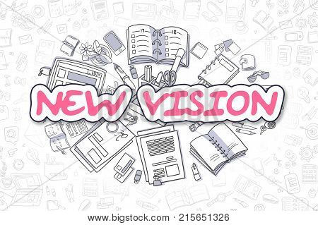 New Vision Doodle Illustration of Magenta Word and Stationery Surrounded by Doodle Icons. Business Concept for Web Banners and Printed Materials.