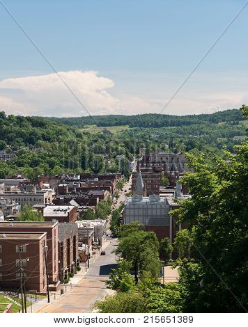 MORGANTOWN, WEST VIRGINIA - JUNE 12, 2016: View of the downtown area of Morgantown WV and campus of West Virginia University