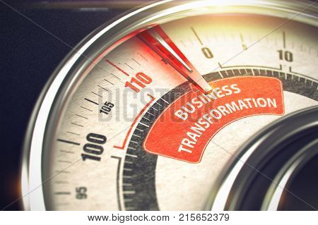 Conceptual Illustration of a Speedmeter with Red Needle Pointing to Maximum of Business Transformation. Horizontal image. 3D Render.