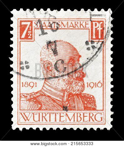 GERMANY - CIRCA 1916 : Postage stamp printed by Germany, Wurtemberg, that shows portrait of king Wilhelm II.