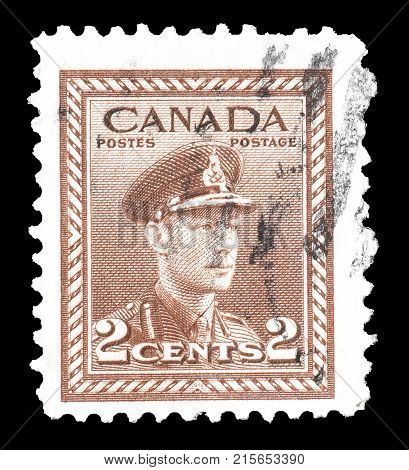 CANADA - CIRCA 1948 : Postage stamp printed by Canada, that shows portrait of king George VI.