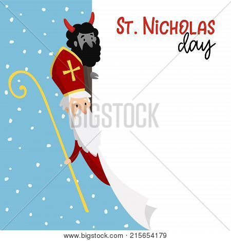 Saint Nicholas with devil and falling snow. Cute Christmas invitation card, web banner with blank list of paper, vector illustration background.