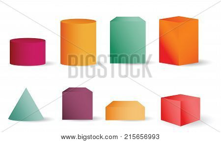 Colored empty 3D cylinders cone and cubes. Cylinder geometric element shape geometry figure collection vector illustration for science design isolated on white background
